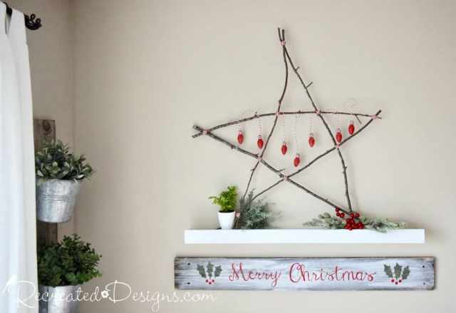 Scandinavian twig star with reclaimed bulbs