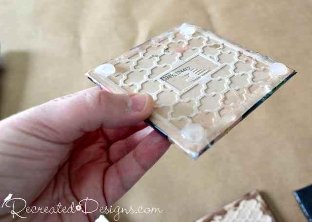 adding hot glue feet to a tile coaster bottom