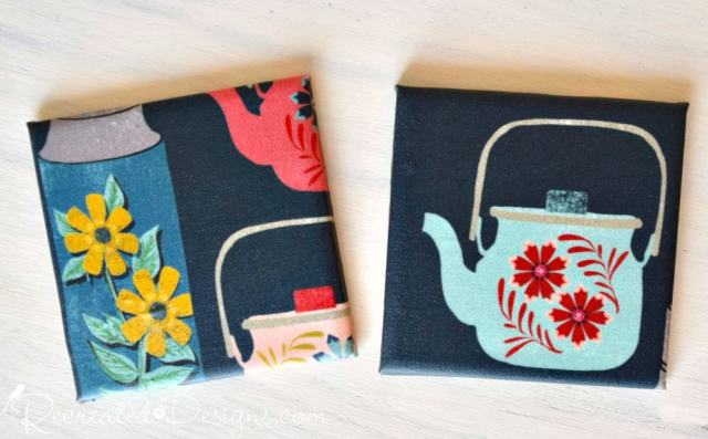 tiles with Spoonflower fabric and Mod Podge