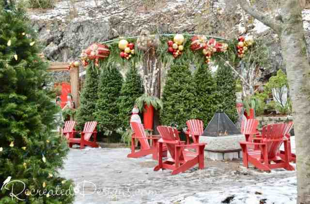 Christmas trees and fire in Old Quebec City Quebec