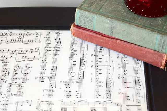 vintage sheet music covered in Envirotex Lite
