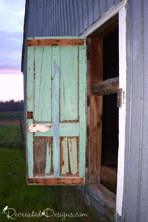 chippy paint on an old barn door