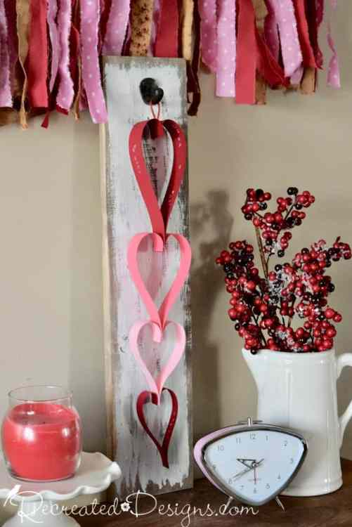 a Valentine paper heart garland by Recreated Designs
