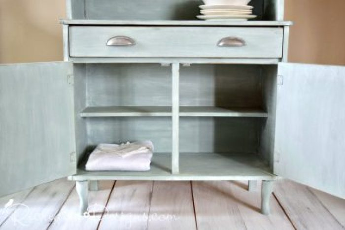 Farmhouse hutch painted with Annie Sloan Chalk Paint in Duck Egg