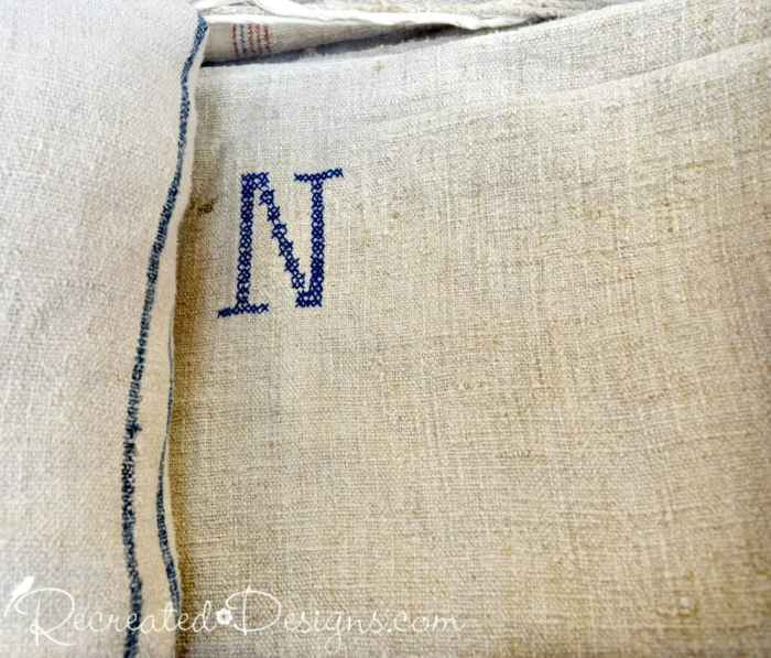 vintage monogramed grain sack found at a flea market in Ottawa Canada