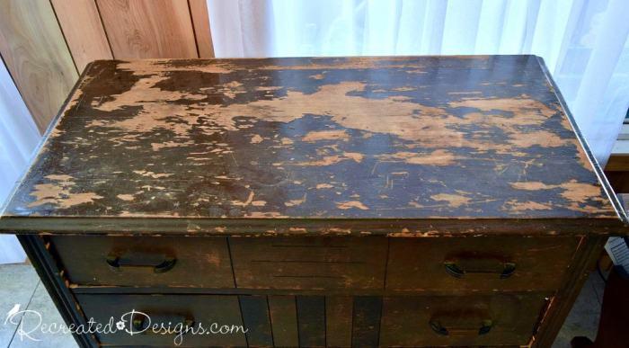 badly damaged vintage dresser top