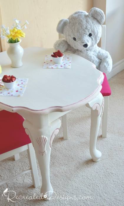 upcycling a side table to a child's play set