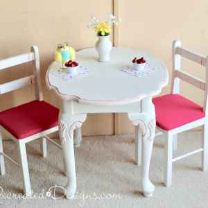 upycled side table and two small chairs into a play set