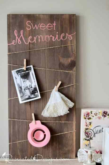 Sweet Memories wood photo and memory board