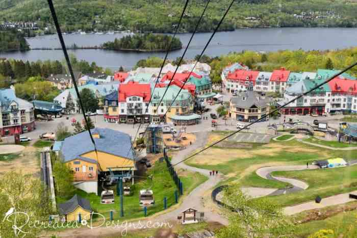 going up Mont Tremblant in the cable car