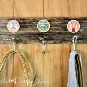 upcycled French milk caps with vintage hooks and reclaimed wood