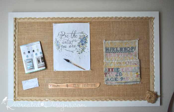 upcycled cork board covered with burlap and paint