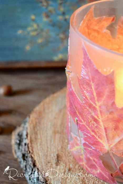 Real Maple Leaves attached to a glass candle holder