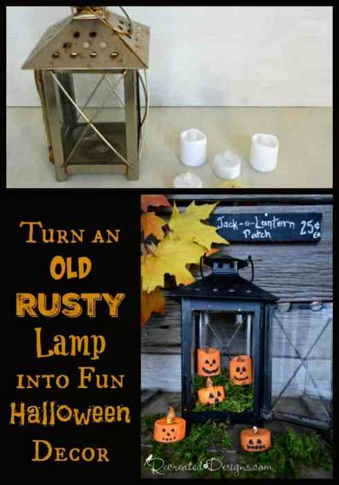 Turn an old and rusty IKEA lamp into Halloween decor by Recreated Designs