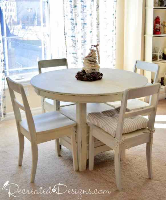 Using Milk Paint on Free Dining Room Chairs - Recreated Designs