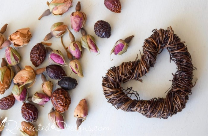 dried rose buds and grapevine heart