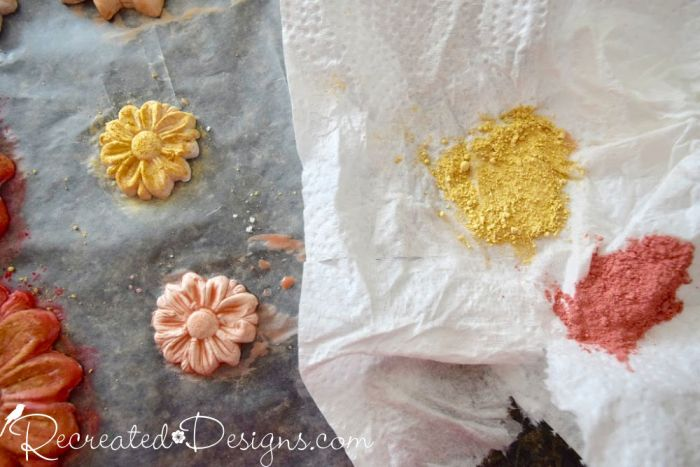 dusting paper clay flowers with Miss Mustard Seed's Milk Paint