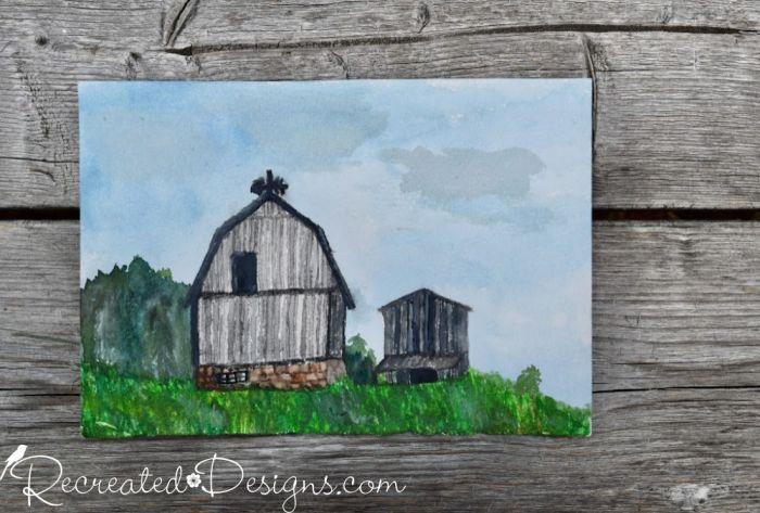 watercolour painted barns
