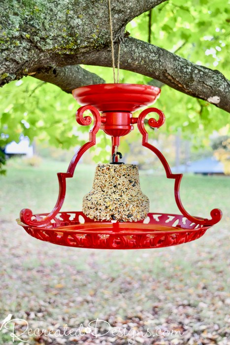 turning an old light fixture into a bird feeder
