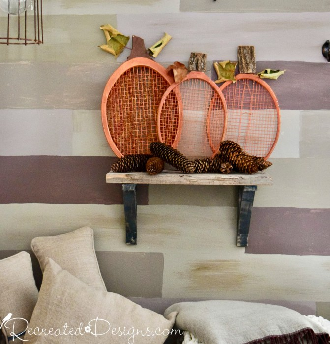 old rackets turned into pumpkins