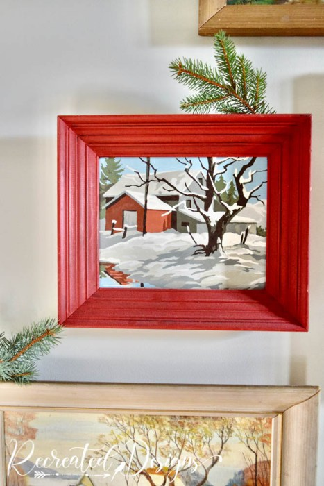 vintage paint by number in red frame