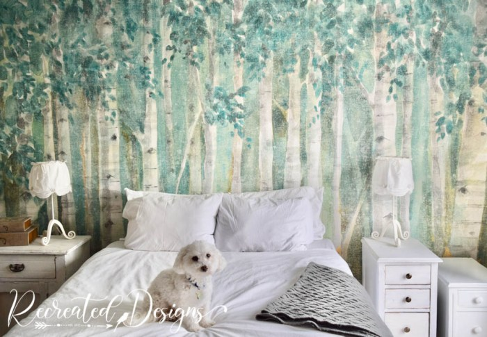 bedroom wall with gorgeous forest wallpaper