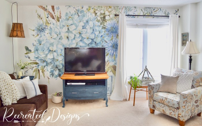 living room refreshed with wallpaper