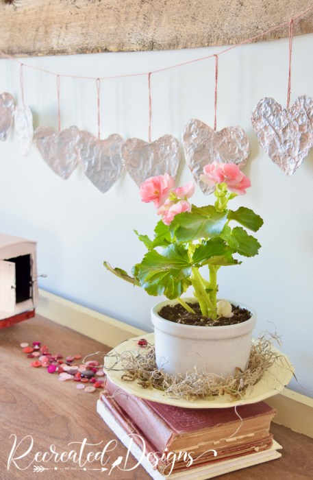 tinfoil heart garland for Valentine's day