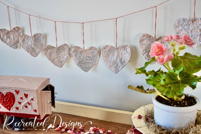 tinfoil heart garland