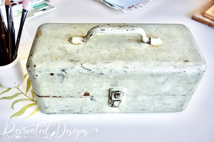 vintage tool box painted green