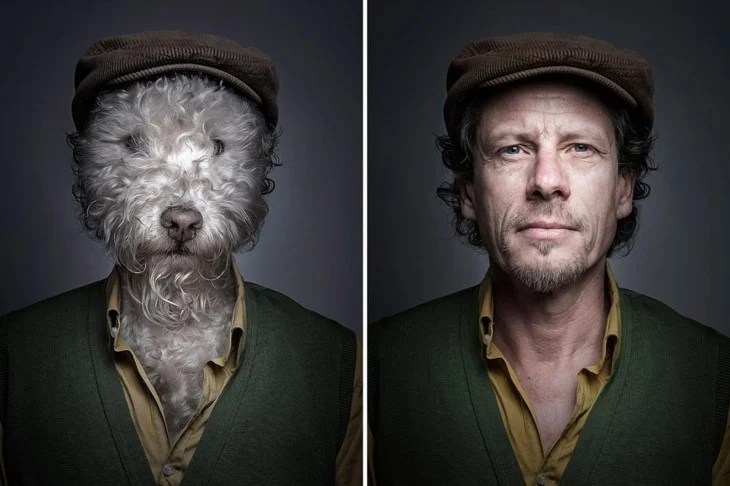 perro con boina como su dueño