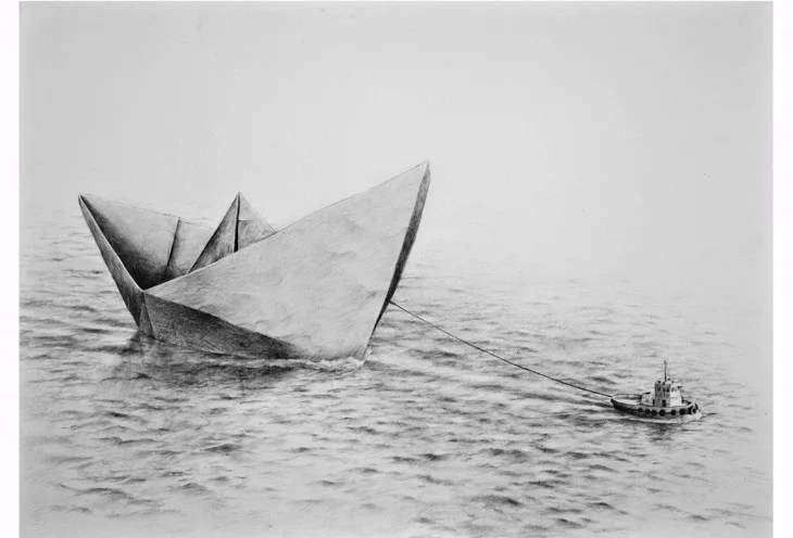 dibujo de barco jalando otro barco
