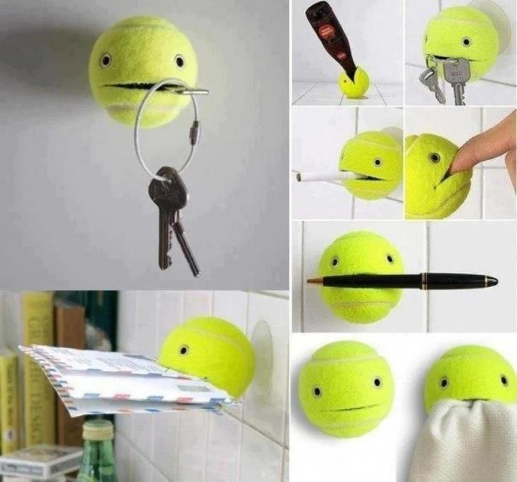 Pelota de tenis para sostener las cosas