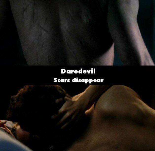 Erro de la película Daredevil donde desaparecen sus cicatrices de una escena a otra