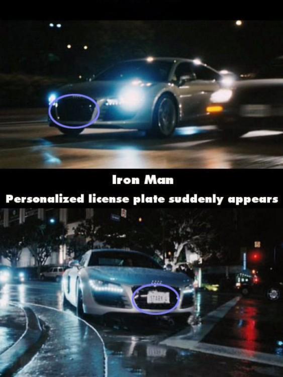 Error en una escena de la matrícula en un carro de la película Iron Man