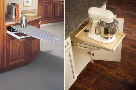 Barra plegable a los muebles de tu cocina para poner cosas encima