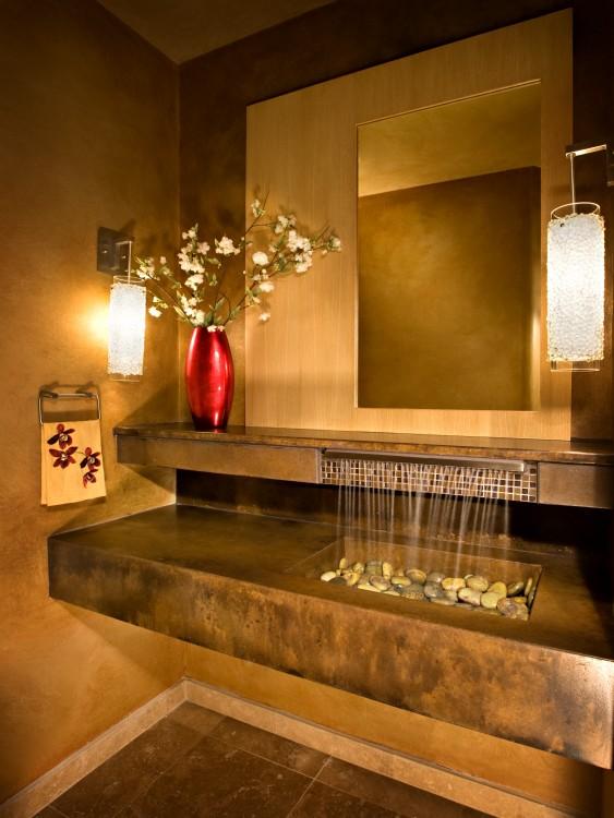 lavabo de baño moderno con diseño de cascada