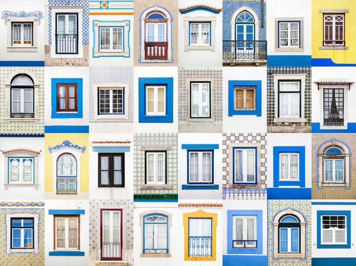 Collage de fotografías de ventanas en Portugal por el fotógrafo portugués André Vicente