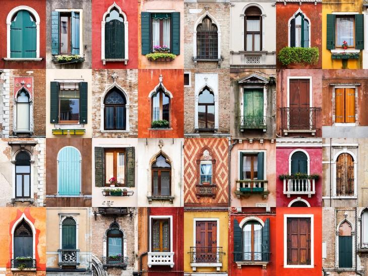 collage de diferente ventanas en Venecia a cargo del fotógrafo portugués André Vicente