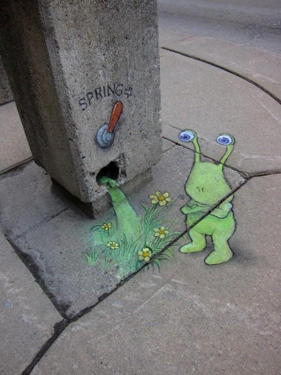 David Zinn cria a arte com giz nas ruas de Michigan