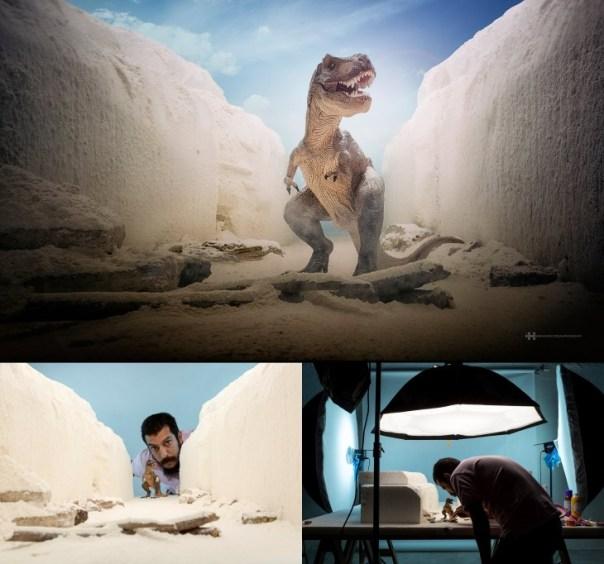 Félix Hernández convirtió una foto de un dinosaurio en una increíble escena que parece de película.