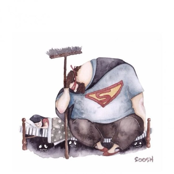 dibujo en acuarela soosh papá vestido de superman al pie de la cama mientras hija duerme