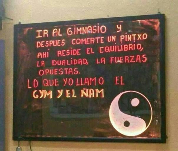 """Anuncio de bar """"el gym y el ñam"""""""