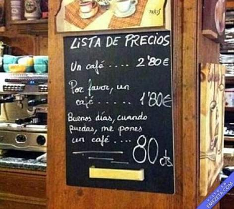 "Anuncio de café-bar ""Precios del café"""