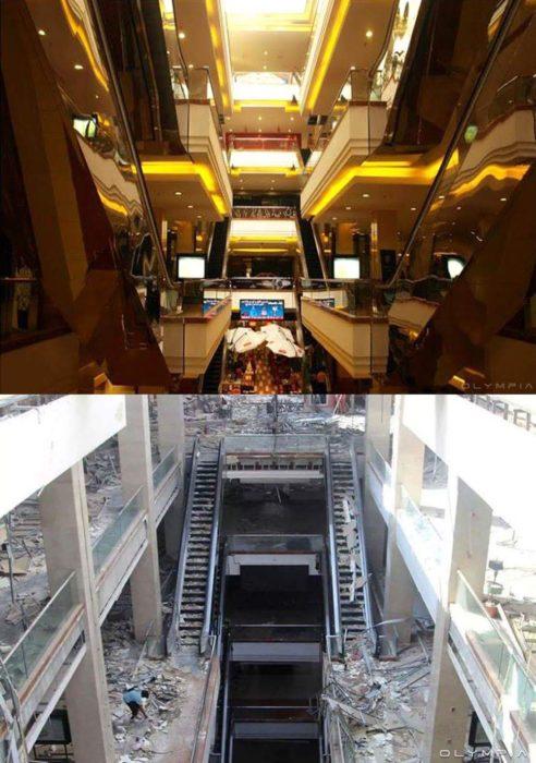 Aleppo, na Síria.  foto de um centro comercial antes e depois da guerra d ela
