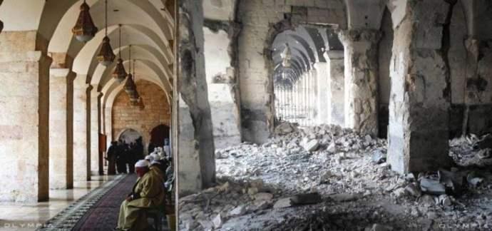 Aleppo, na Síria.  foto de uma mesquita antes e depois da guerra d ela