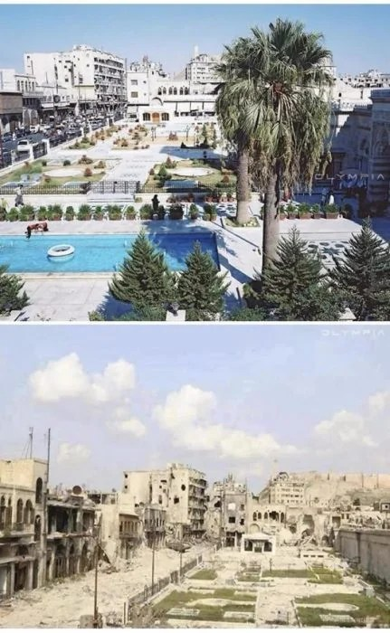 Aleppo, na Síria.  foto de um lugar com uma piscina e jardim e formigas depois da guerra
