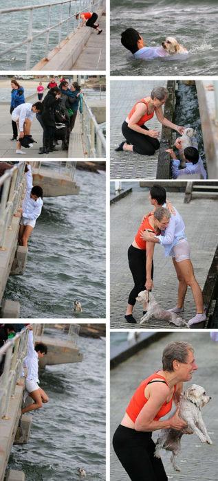 hombre se avienta al agua para rescatar chucho