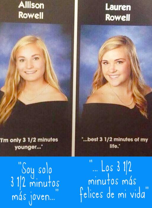 foto de anuario de gemelas