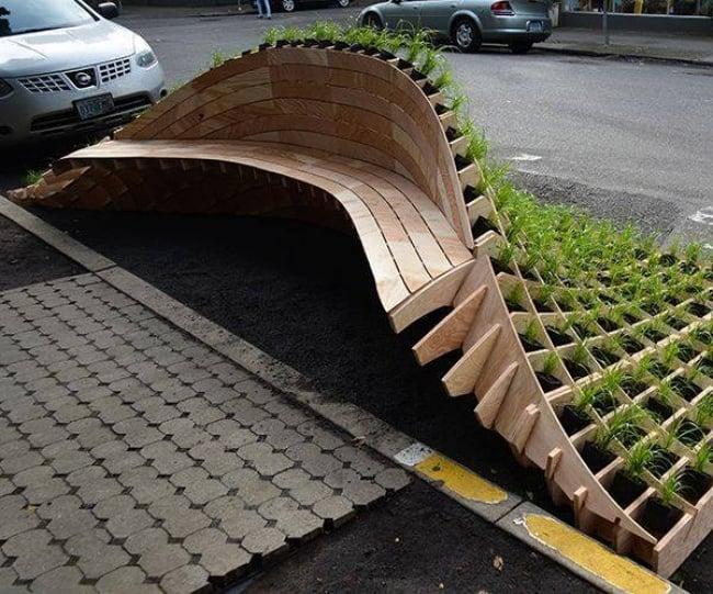 banco vegetación diseño industrial